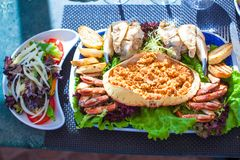 Seafood on the plate. Prepared Shellfish. Stock Images