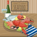 Seafood on plate served with glass of wine vector illustration, cartoon style design element for poster or banner. Seafood on plate served with glass of wine vector illustration