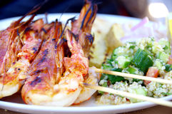Seafood plate with taboulè Royalty Free Stock Photo