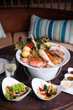 Seafood Plater with salad and grilled vegetables Stock Image