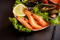 Seafood plater on slate Royalty Free Stock Photography