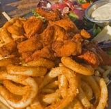 Seafood Platter. With calamari, prawns, scallops and salad Stock Photos