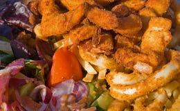 Seafood Platter. With crumbed calamari, fish, prawns, scallops and salad Stock Images