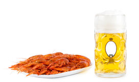 Seafood platter of prawns with beer Royalty Free Stock Image