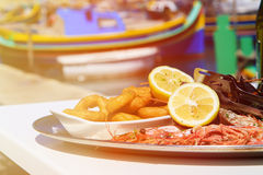 Seafood platter served in mediterranean restaurant Stock Photos
