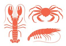 Seafood platter set design flat fresh fish and crab. Vector. illustration EPS Stock Photography