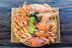 Seafood Platter. With sliced lemon Stock Image