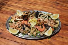 Seafood platter on a table royalty free stock images