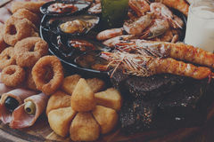 Seafood platter on wooden table background Stock Image