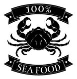 100 seafood pork food label. Seafood 100 percent label with crab and reading 100 percent seafood Stock Images