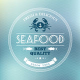 Seafood poster. On blue background in vector royalty free illustration