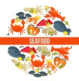 Seafood poster of fresh fish catch for sea food restaurant fisher market. Seafood poster of fresh fish catch for sea food restaurant or fisher market and chef Stock Photos