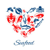 Seafood poster in heart shape vector symbol. Seafood vector poster designed in heart shape of sea food fish, shrimp and squid, crab lobster, tuna and salmon or Royalty Free Stock Photos