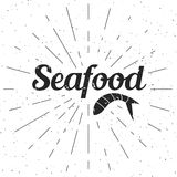 Seafood poster -  illustration with type. Seafood poster,  illustration with type and stripes Royalty Free Stock Image