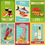Seafood Poster Set Stock Photos