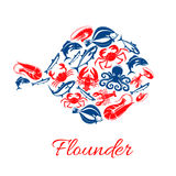 Seafood poster in shape of flounder fish symbol. Flounder symbol of seafood and fish food, shrimp, crab lobster, tuna and salmon or trout, squid and crab Stock Photos