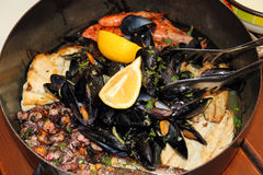 Seafood in the pot. Restaurant - Seafood in the pot - Dubrovnik Croatia Stock Image