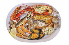 Seafood and potatoes Royalty Free Stock Photo
