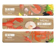 Seafood of Premium Quality Set on Wooden Board. Seafood of premium quality collection on wooden cutting board. Vector colorful poster of tasty and healthy menu Stock Images