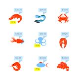 Seafood price icons set. Seafood market online store discount fish lobster caviar price tags icons set flat abstract isolated vector illustration vector illustration