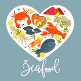 Seafood products with lemon and greenery inside heart Stock Images