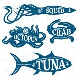 Seafood Quote Set. Placed on blue sea animals bodies and colored vector illustration stock illustration