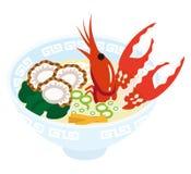 Seafood Ramen Noodles Stock Image