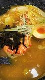 Seafood ramen. In thick collagen broth royalty free stock photo