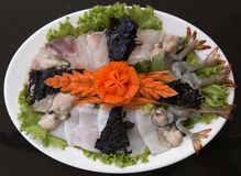 Seafood raw material food stylist Royalty Free Stock Photos