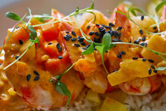 Seafood red curry with shrimps prawns Royalty Free Stock Image