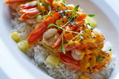 Seafood red curry with shrimps prawns Stock Photo