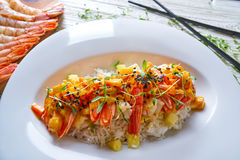 Seafood red curry with shrimps prawns Royalty Free Stock Photos