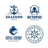 Seafood related labels badges emblems set. Vector vintage illustration. Royalty Free Stock Photography
