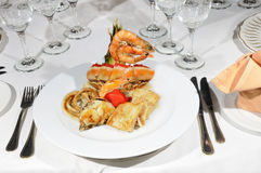 Seafood on restaurant Stock Images