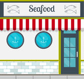 Seafood restaurant buiding front or facade. Seafood restaurant facade in flat style. EPS10 vector illustration of modern building front. Small business Royalty Free Stock Image