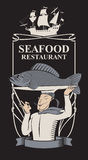Seafood restaurant with chef, fish and sailboat Royalty Free Stock Photo