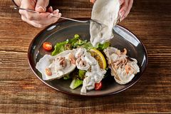 Seafood. Restaurant cuisine, healthy delicatessen food. Oysters, shrimps, octopus in white cream sauce in the shell of Royalty Free Stock Image