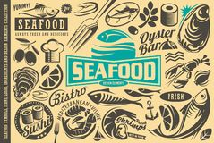 Seafood restaurant design elements collection stock illustration