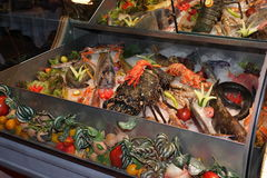 Seafood at a restaurant Royalty Free Stock Image