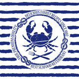 Seafood restaurant emblem with crab Stock Image