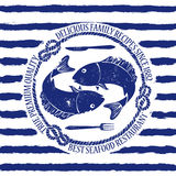 Seafood restaurant emblem with fish. Blue white seafood restaurant emblem with fish, fork and knife on a striped background Stock Image