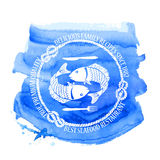 Seafood restaurant emblem with fish. Blue white seafood restaurant emblem with fish, fork and knife on a watercolor background Royalty Free Stock Image