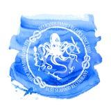 Seafood restaurant emblem with octopus stock illustration