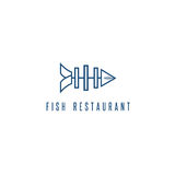 Seafood restaurant emblem with skeleton of fish. Vector Royalty Free Stock Image