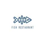 Seafood restaurant emblem with skeleton of fish. Vector Stock Images