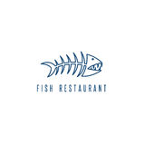 Seafood restaurant emblem with skeleton of fish. Vector Royalty Free Stock Photo