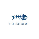 Seafood restaurant emblem with skeleton of fish. Vector Stock Photography