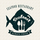 Seafood restaurant with fish. Banner for the store or seafood restaurant with fish and cutlery Royalty Free Stock Images