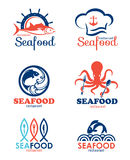 Seafood restaurant and fish logo vector set design Royalty Free Stock Images