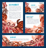 Seafood restaurant and fish market banner template. Ocean crab, octopus, shrimp, lobster, squid and sea turtle sketch poster set for mediterranean cuisine menu Royalty Free Stock Photography